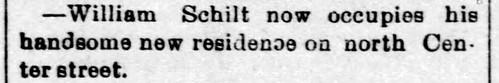1896 - Schilts move into new house on N Center - Enquirer - 13 Nov 1896   by historic.bremen