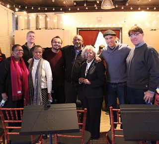 Members of the cast and director Jeremy Davidson with founders of Rye's Friends of the historic Rye African-American Cemetery. L - R Myra Lucretia Taylor, Chris Henry Coffey, Joan Grangenois-Thomas, Kyle Thomas, David Thomas, Doris Bailey Reavis, Jeremy D