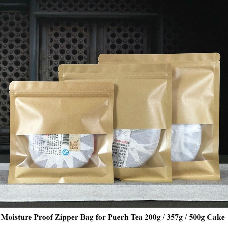 Moisture Proof Zipper Bag for Storing Puerh Tea 200g / 357g / 500g Cake