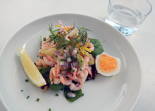 Shrimp salad sandwich at a Café in Fiskebäckskil in Sweden