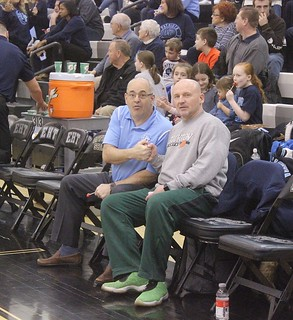 Freehold Twp. coach Brian Golub and Eastern Regional parent Roy Heck exchange greetings before the game.   by tedtee308