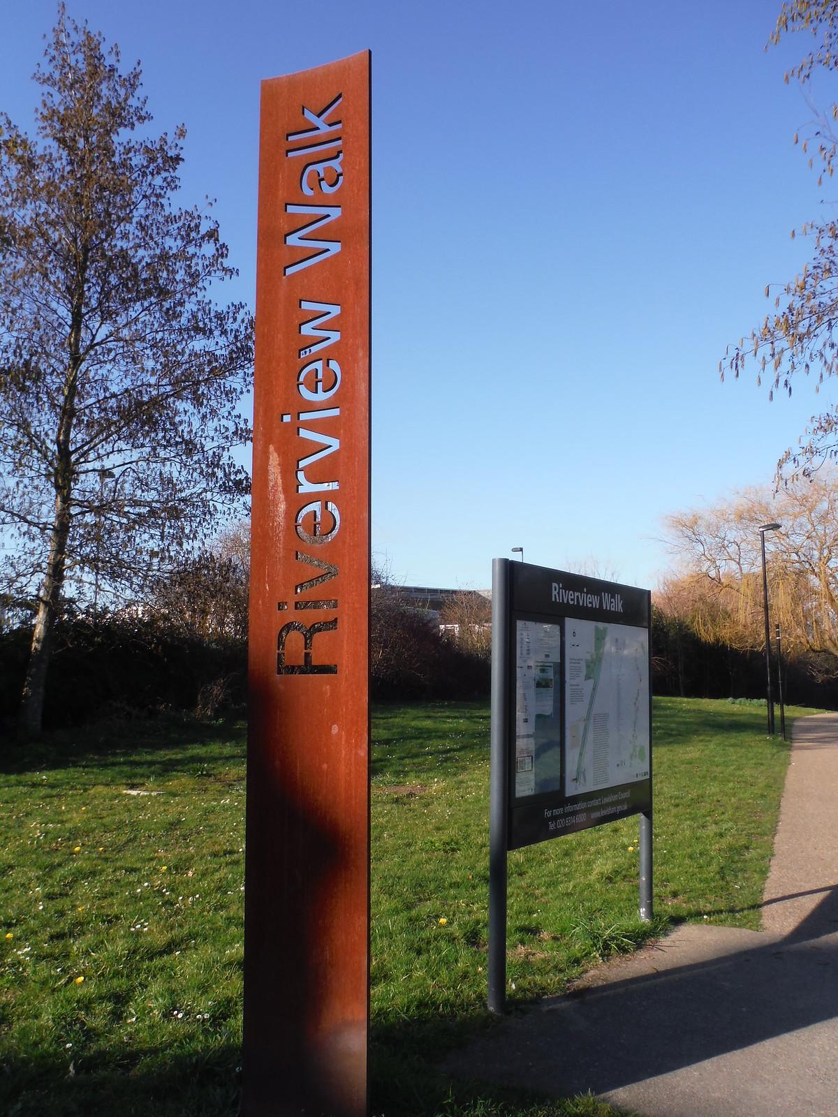 Corten Steel Totem Sign for The Riverview Walk, Lower Sydenham SWC Short Walk 36 - Waterlink Way (Lower Sydenham to Greenwich)