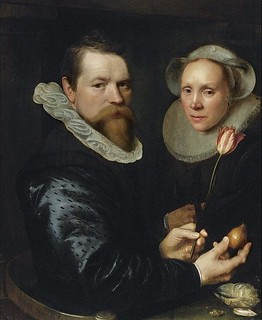 Double portrait with tulip, bulb,