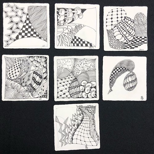 """I had so much fun with some of my returning students at this evening's """"Beyond Basics: String Theory"""" Zentangle class at @walkervilleartistscoop. Check out the gorgeous class tiles! #zentangle #tangle #tangling #czt #laurelstoreyczt #art #classes #artclas 