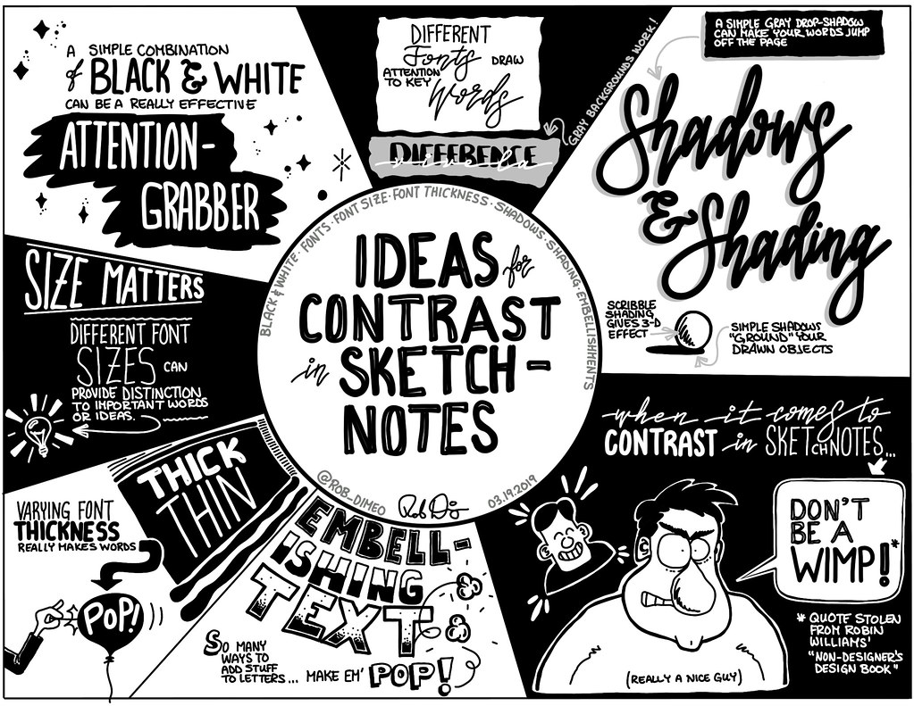 Ideas for Contrast in Sketchnotes