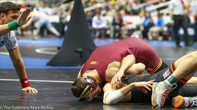 Champ. Round 1 - Mitch McKee (Minnesota) 21-5 won by fall over Sam Krivus (Virginia) 16-11 (Fall 5:00) - 190321amk0057