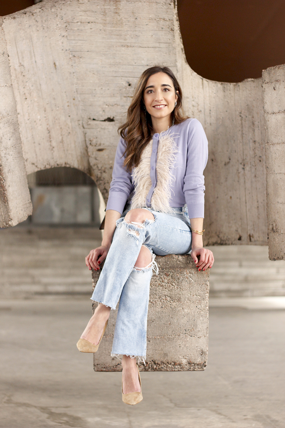 lavender sweater ripped jeans gucci bag nude heels casual street style casual outfit 201910