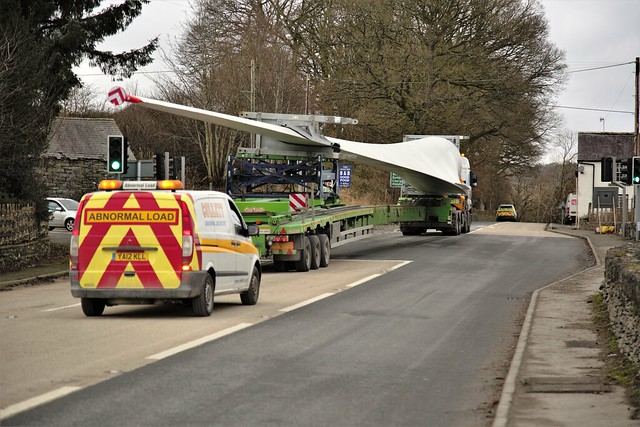 Collett`s transport delivering turbine blades for the Clocaenog forest wind farm 28 January 2019