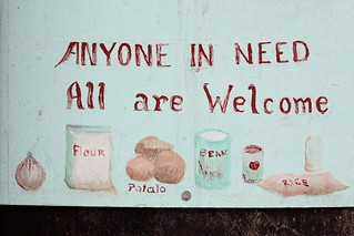 Anyone in need, all are welcome, hand-drawn signage (detail), Blessed Assurance Church of God, Bedford-Stuyvesant, Brooklyn