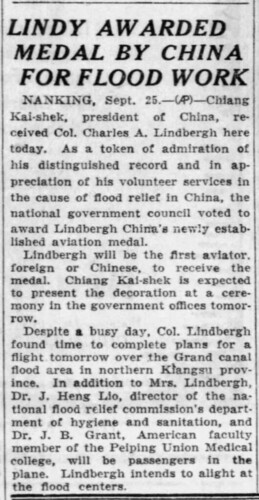 Chicago Tribune, 9.23.31 p8 Lindbergh medal - China