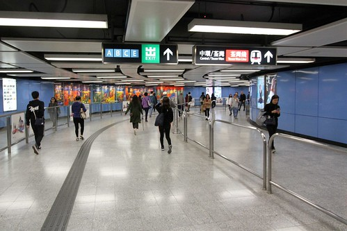Tsuen Wan line end of the transfer passageway at Mei Foo station