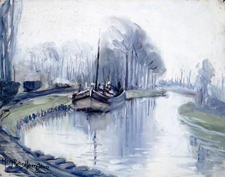 First Boat to Arrive at Arras after the Armistice / Le premier bateau qui accoste à Arras après l'Armisticec101313k