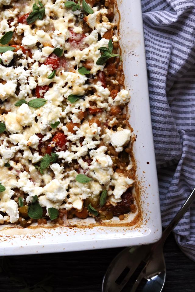Creamy Feta, Tomato, and Chickpea Israeli Couscous Casserole