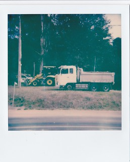 Truck and bulldozer