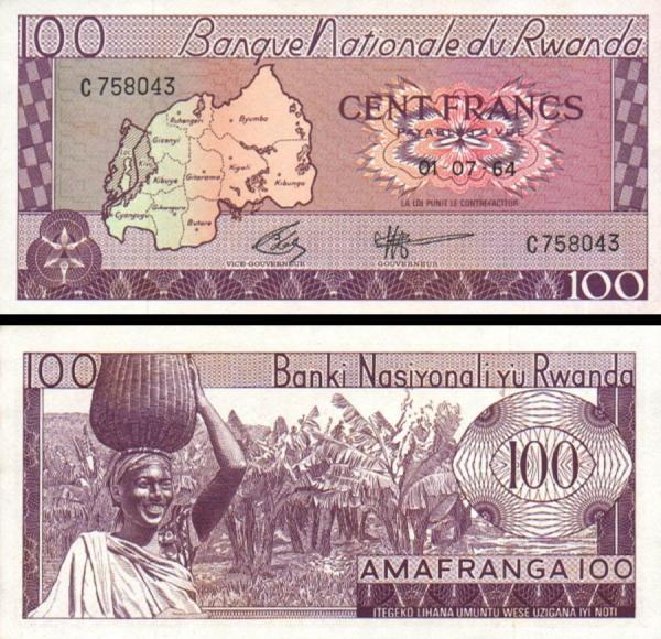 100 Frankov Rwanda 1964, P8a