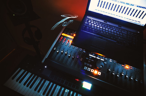 Mixing Console and Laptop | by dejankrsmanovic