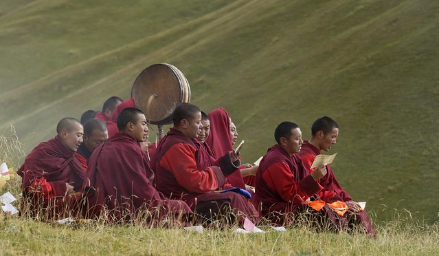 Sershul monks in session, Tibet 2018