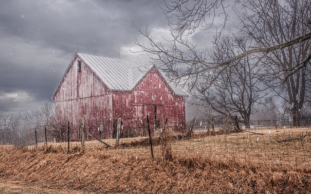 Snow Showers on Red Barn