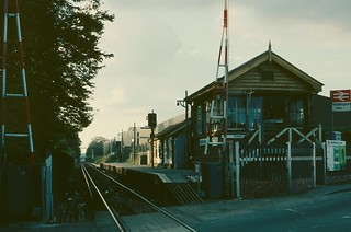 Beddington Lane Halt and signalbox in 1980   by Tom Burnham