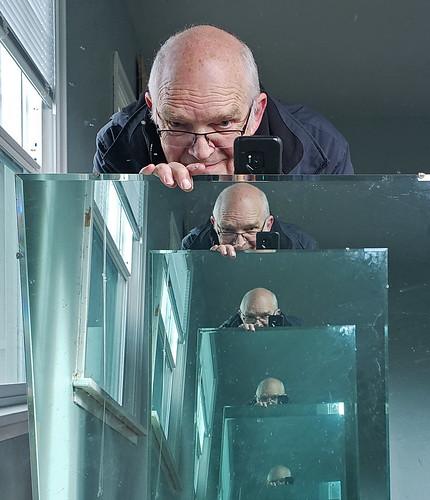 self me mirror bald glasses blue farmhouse