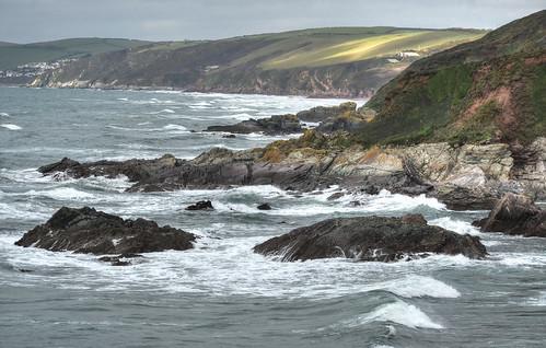 cornwall whitsandbay roughseas cliffs rocks sharrowpoint nationaltrust