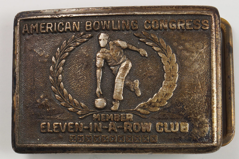 RD26074 1958 Sterling American Bowling Congress Eleven In A Row Club Bowling Sterling Belt Buckle H.J. DSC00136