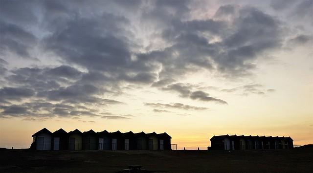 Blyth Beach Huts - Dawn Silhouettes and Cloud Cover