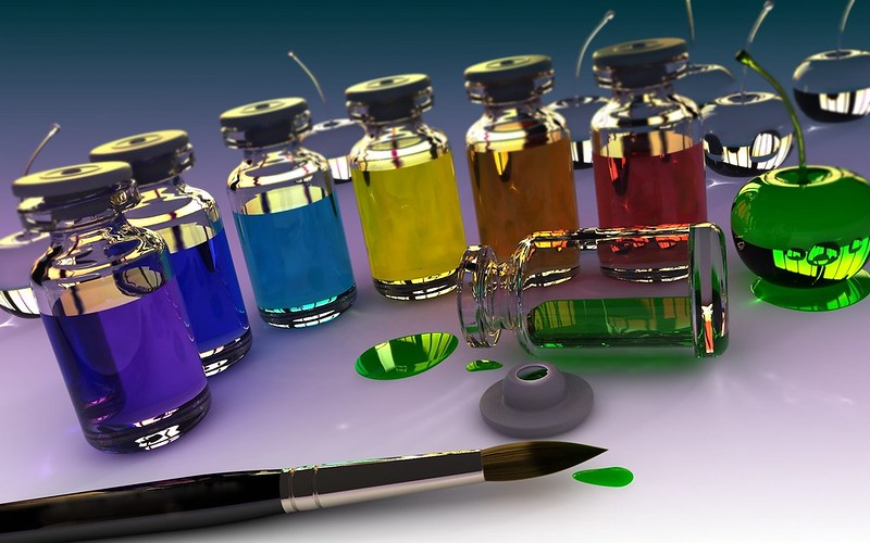 Обои 3d, банки, кисть, краска, стекло картинки на рабочий стол, фото скачать бесплатно