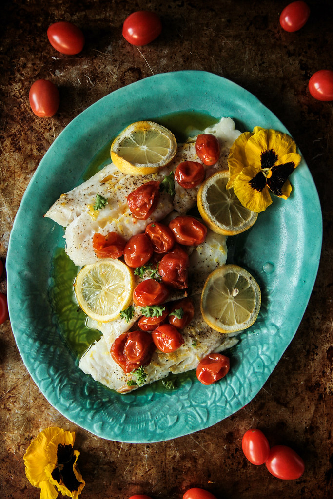 Roasted White Fish with Spicy Tomato Garlic Confit from HeatherChristo.com