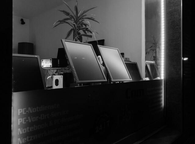Computer store at night