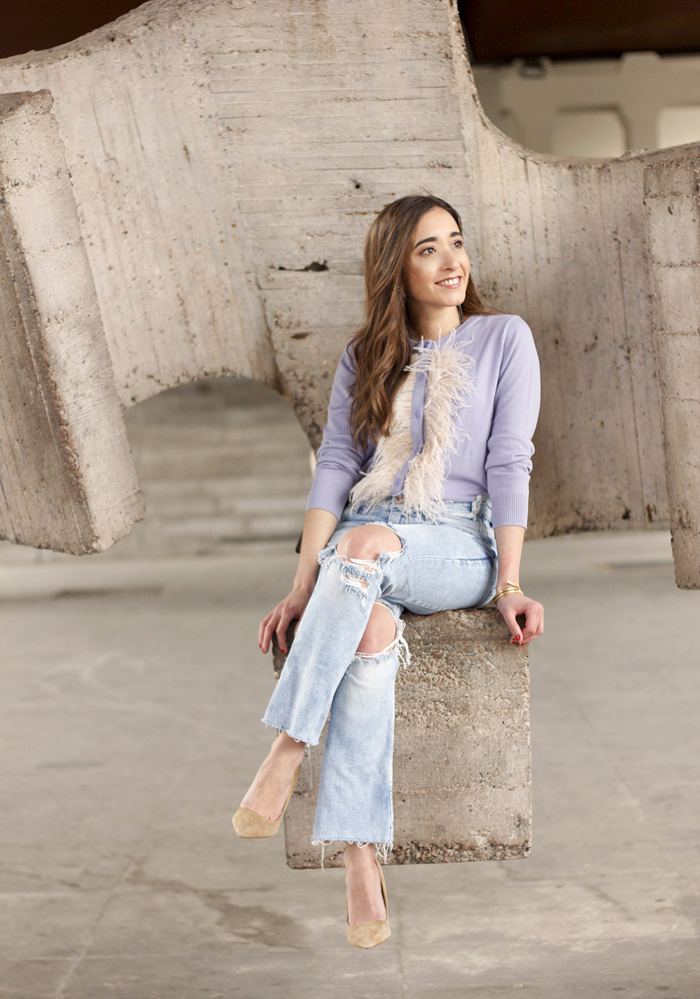 lavender sweater ripped jeans gucci bag nude heels casual street style casual outfit 20199