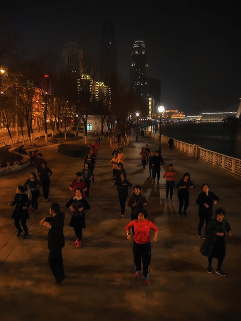 Night images of Tianjin, China: Women doing exercise