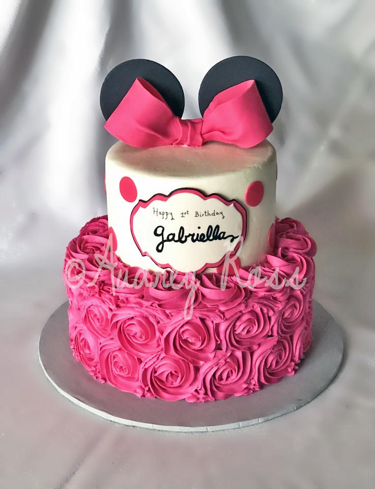 Amazing Hot Pink Minnie Rosette Birthday Cake Hot Pink Is Not Know Flickr Funny Birthday Cards Online Overcheapnameinfo