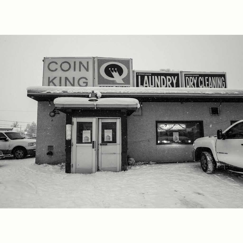 Coin King Laundry and Car Wash BW: Fairbanks Alaska, 1/29/2019 (Closing After 64 Years)