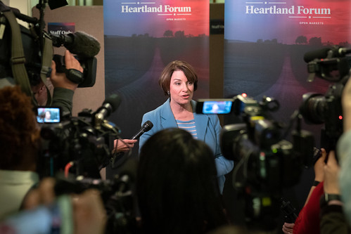 Senator Amy Klobuchar speaking to journalists at the Heartland Forum in Storm Lake, Iowa | by Lorie Shaull