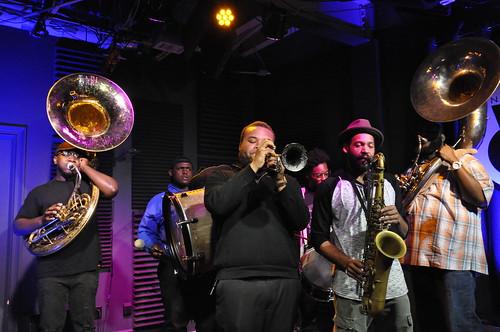 Hot 8 Brass Band at WWOZ - 3.29.19. Photo by Leona Strassberg Steiner.
