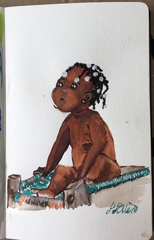 Little brown girl. Gouache on paper.