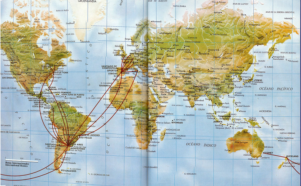 aerolineas argentinas route map Airline Maps Aerolineas Argentinas Routes 1998 Aerolineas aerolineas argentinas route map
