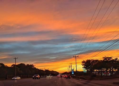 sunset sundown colorful red fierysundown atdusk outdoors texas pixelphonephotography mobilephotography naturesfinest clouds sun skycolors