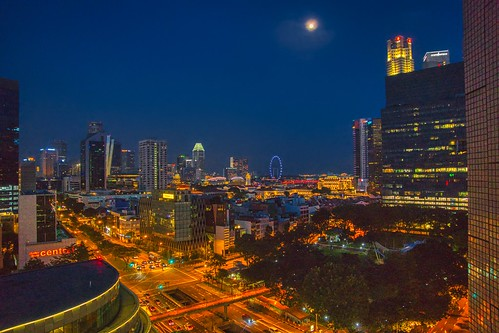 sky blue night moon city view cityscape urban lights building chinatown singapore southeast asia sony alpha 77 slt dslr