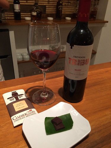 Trivento Tribu Malbec with Caribeans Chocolate, 85% chocolate