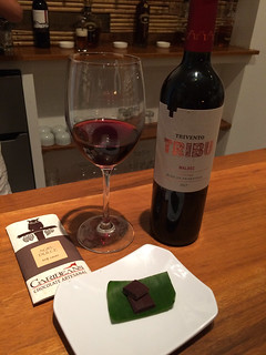 Trivento Tribu Malbec with Caribeans Chocolate, 85% chocolate | by WineAndCheeseFriday