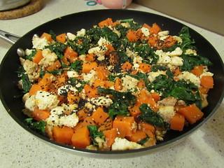 Sesame Scrambled Tofu and Greens with Yams