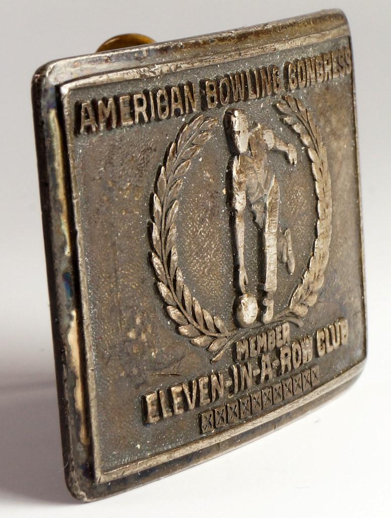 RD26074 1958 Sterling American Bowling Congress Eleven In A Row Club Bowling Sterling Belt Buckle H.J. DSC00148