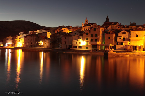 urban city town place krk island sea adriatic adriaticsea night lights twilight stony heritages croatia hrvatska europe canon