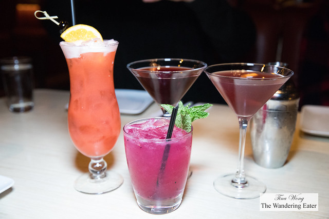 Cocktails for my table: Peach Mai Tai, Nucky's Manhattan, Continental Cosmo, and Dragon Fruit Mojito (bright pink-purple drink)