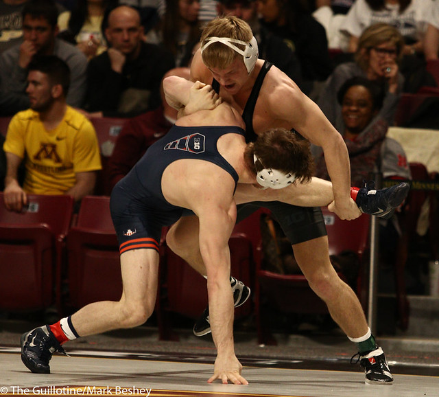 9th Place Griffin Parriott (Purdue) 2-0 won by decision over Eric Barrone (Illinois) 1-1 (Dec 5-2) Semis  - 190310cmk0091