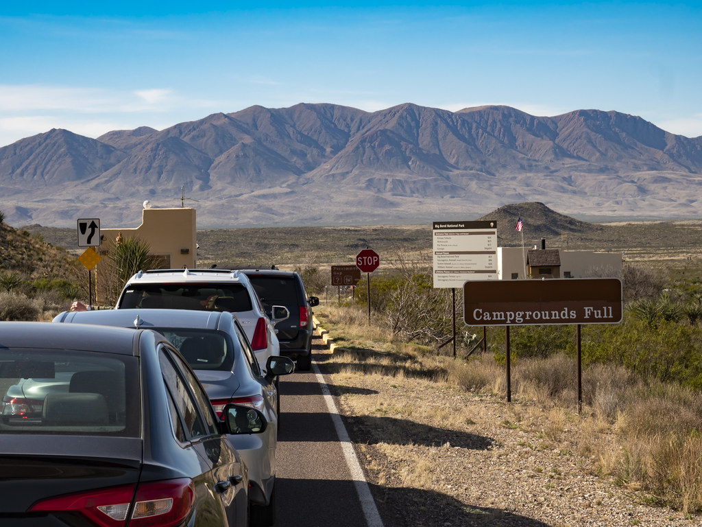 Line of cars waiting to enter Big Bend National Park