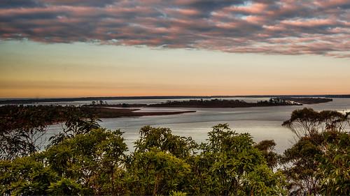 lake landscapes redsunrise sunrise trees waterscape victoria australia au