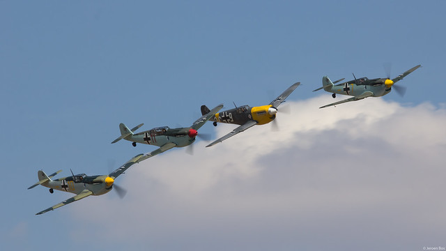 Beautiful formation of four Hispano Buchons during Flying Legends 2018, Duxford UK
